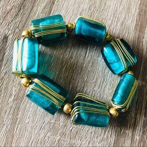 Jewelry - 💙✨ Blue Stone Bracelet with Gold Metal Wrap 🌟